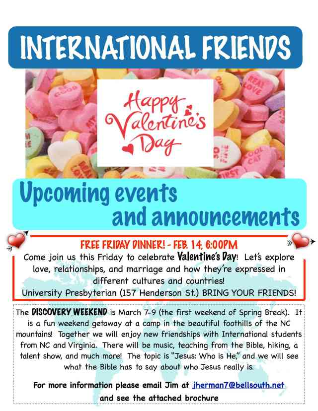Valentines Friday dinner this Friday at 6:00pm