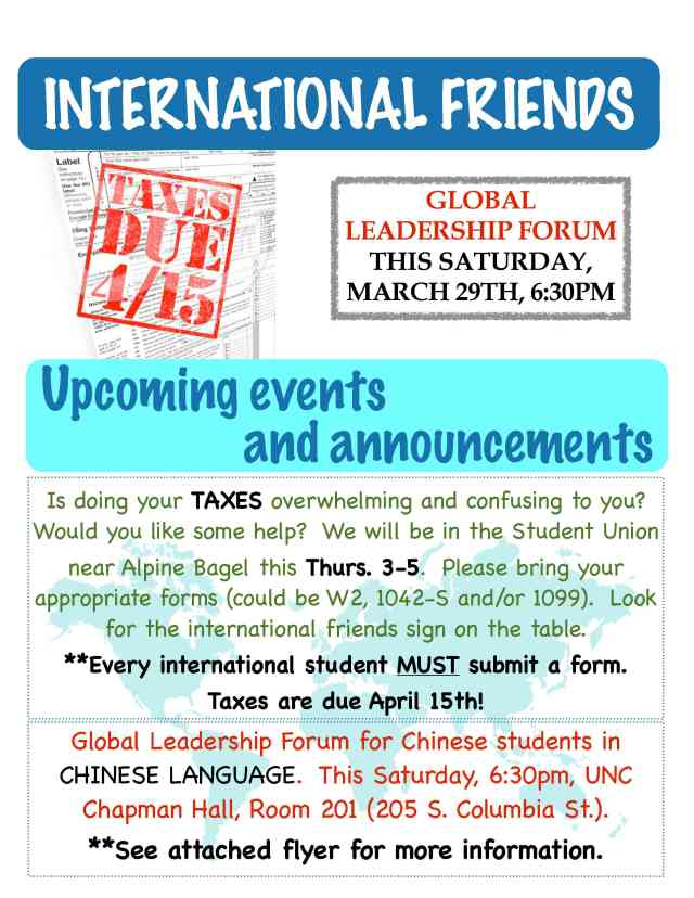 Taxes help tomorrow!  Global Leadership Forum this Saturday!