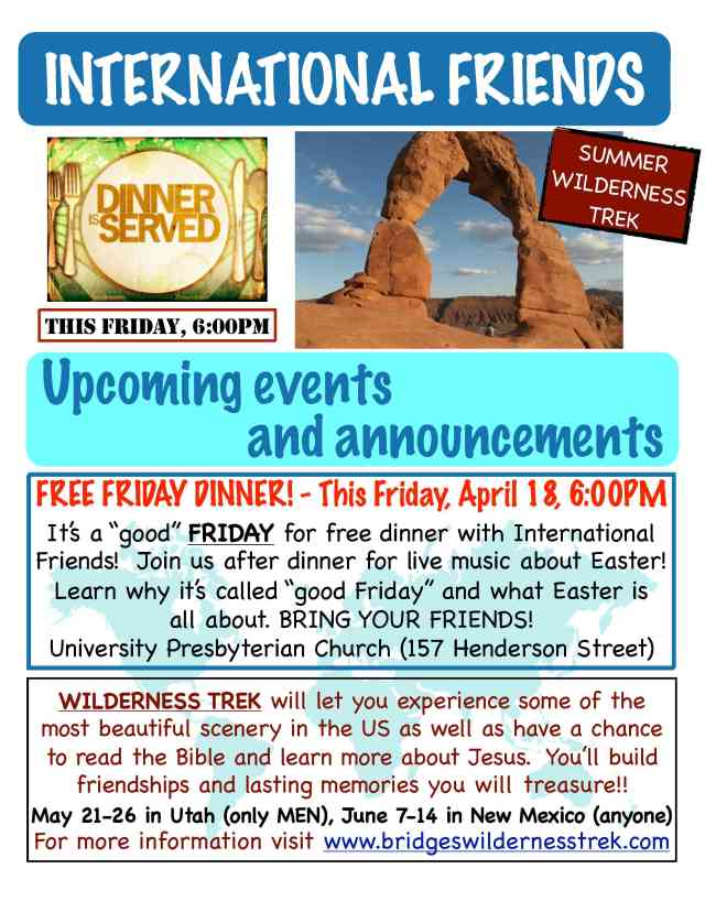GOOD FRIDAY DINNER this Friday 6PM