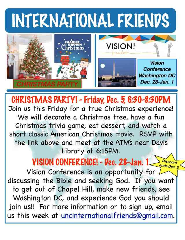 RSVP for Christmas Party: https://docs.google.com/forms/d/1hKNDK2MvCi2FTly9RCuqIpVSHttyHfDM_g-LIqM1gaA/viewform?c=0&w=1 Vision Conference Link: http://www.bridgesconferences.com/
